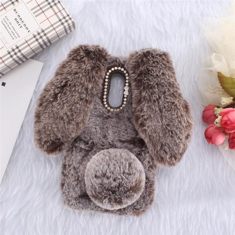 3D Warm Rabbit Ear Doll Furry Fur Case for LG K8 K10 2017 Stylo 4 5 G4 Stylus Q60 K40 K50 V50 Bunny Diamond Bowknot Coque Cover image