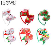 12Pcs/lot Kids Christmas Printed Hair Bow Hairbands Top Knot Xmas HeadBand For Girls Festival Boutique Headwear Accessories