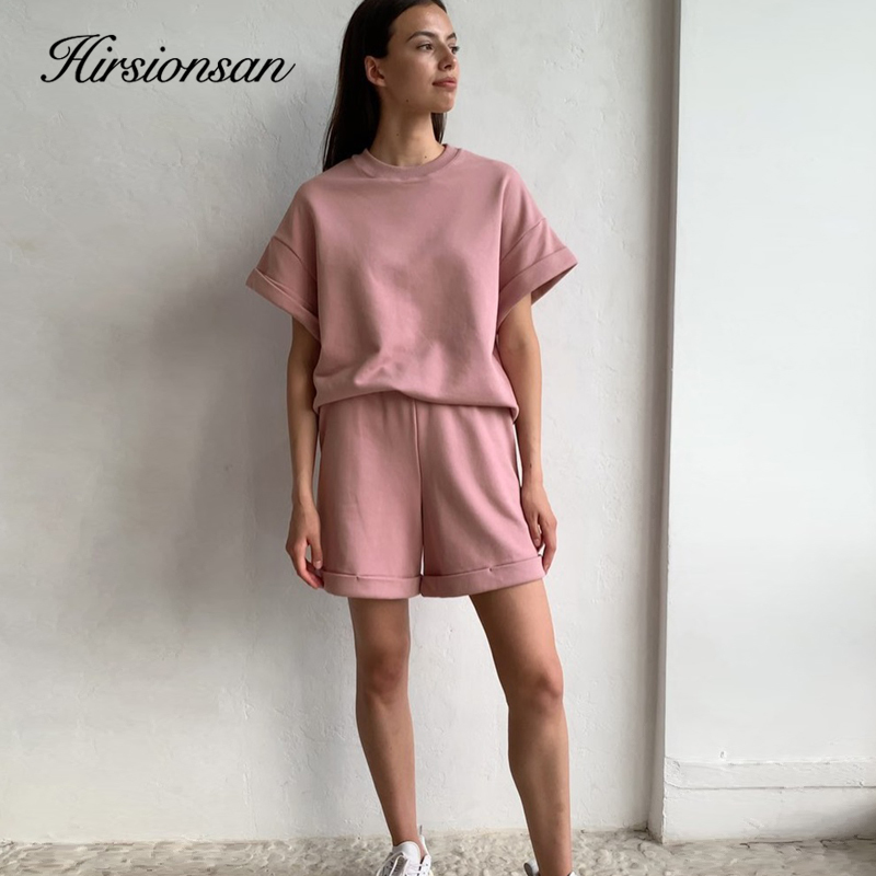 Hirsionsan Summer Cotton Sets Women Casual Two Pieces Short Sleeve T Shirts and High Waist Short Pants Solid Outfits Tracksuit