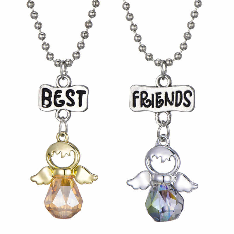 Novo dos desenhos animados das crianças fada anjo empregada coelho pingente de cristal colar melhor amigo amizade meninas jóias acessórios