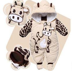 Зимние комбинезоны для маленьких мальчиков и девочек, пальто для младенцев, парки, детская одежда, теплый Пуховый комбинезон для новорожден...