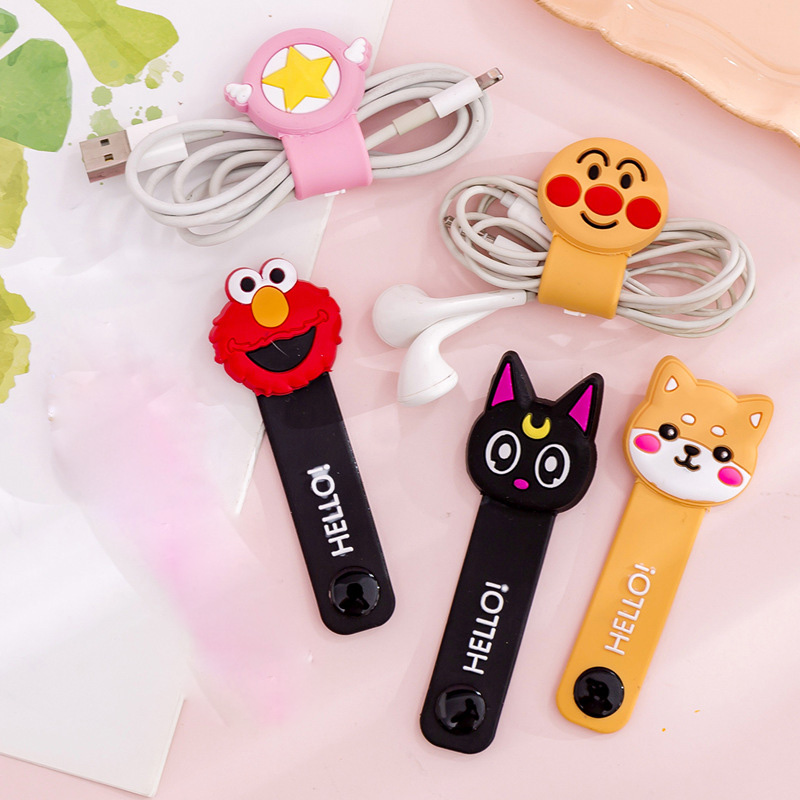 Cartoon pattern Protector Data Line Cord Protector Protective Case Cable Winder Cover Mobile Phone USB Charging Cable Boy & Gilr