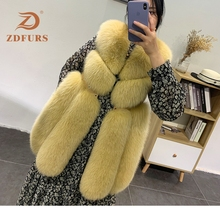 ZDFURS*new arrival FREE SHIPPING  women winter real fox fur coat hot sale big long vest waistcoat for gilet