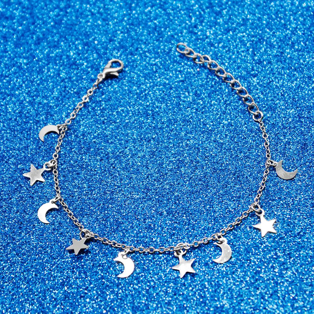 New Fashion Gold silver Moon Star Charms bracelet for Women Accessories Bracelets 4g 3