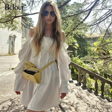 Casual Long Sleeve Shirt Dress Female Square Neck White Mini Dress Women Sexy Short Chic Dresses Ruffle Autumn 2020 Vestidos