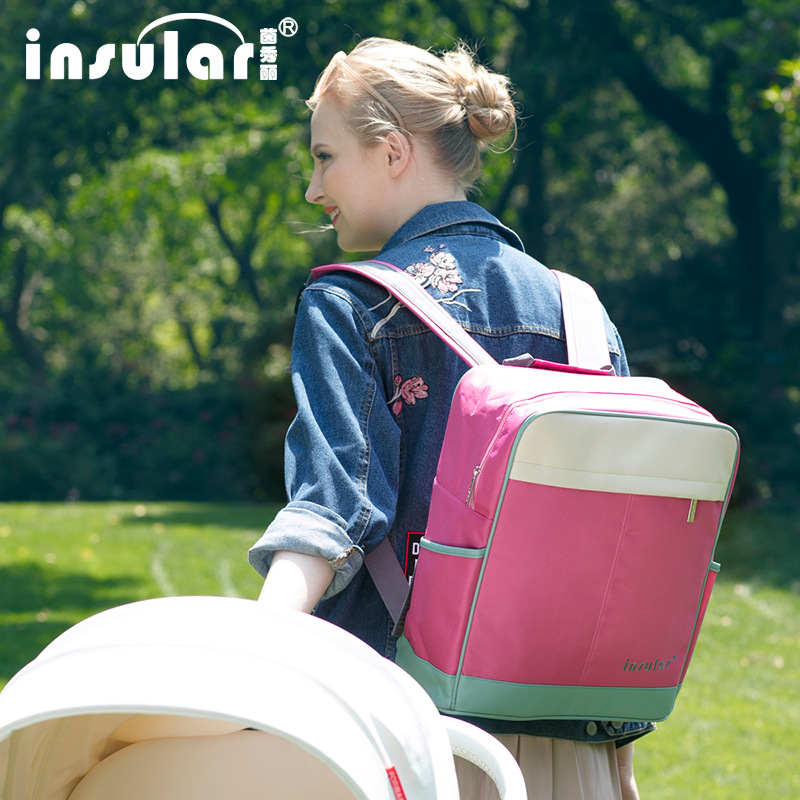 Insular Multi-functional Waterproof Nylon Mummy Backpack Large Capacity Mom And Baby Nursing Backpack Cross Border Wholesale