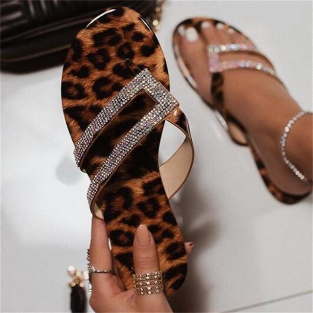 Pzilae rhinestone women slippers flip flops summer crystal bling slides women shoes leopard print casual slip on beach slippers