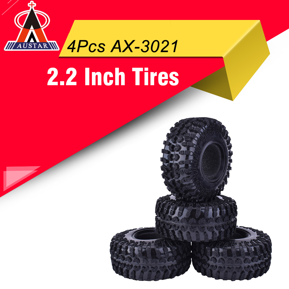 4 Uds AUSTAR AX-3021 2,2 pulgadas 127mm neumáticos de goma neumático para 1/10 coche RC Axial SCX10 90056 90045 RC Rock Crawler