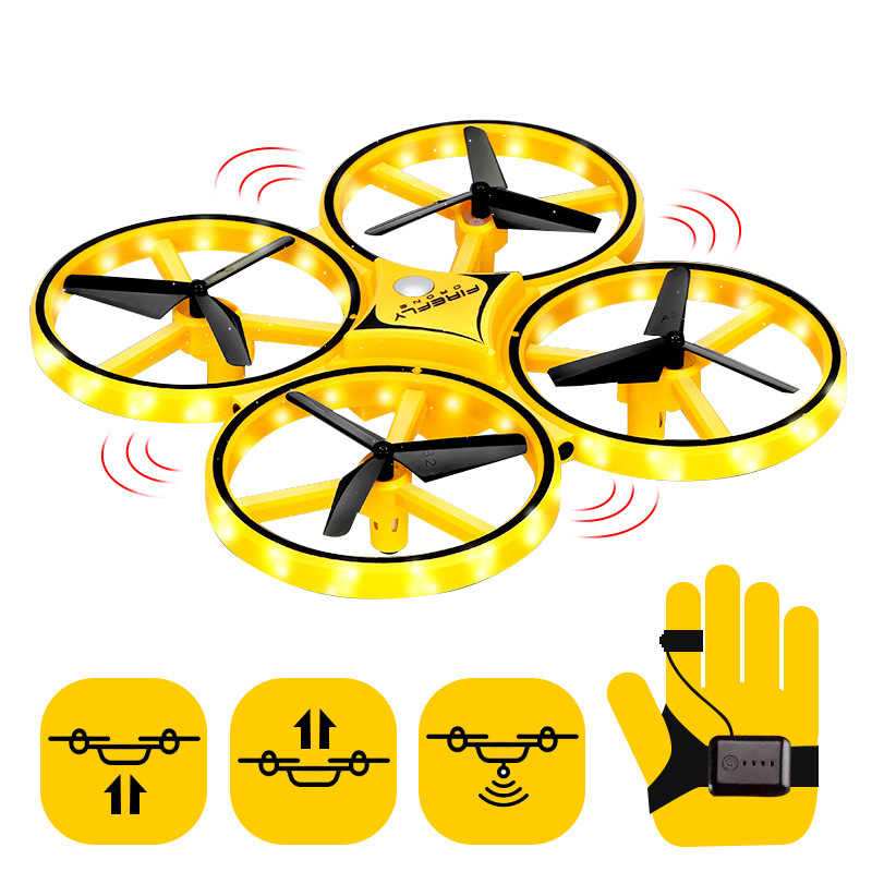 Gesture Remote-control Four-axis Aircraft Intelligent Suspension UFO Sensing Flight Drop-resistant Rechargeable Watch Unmanned A