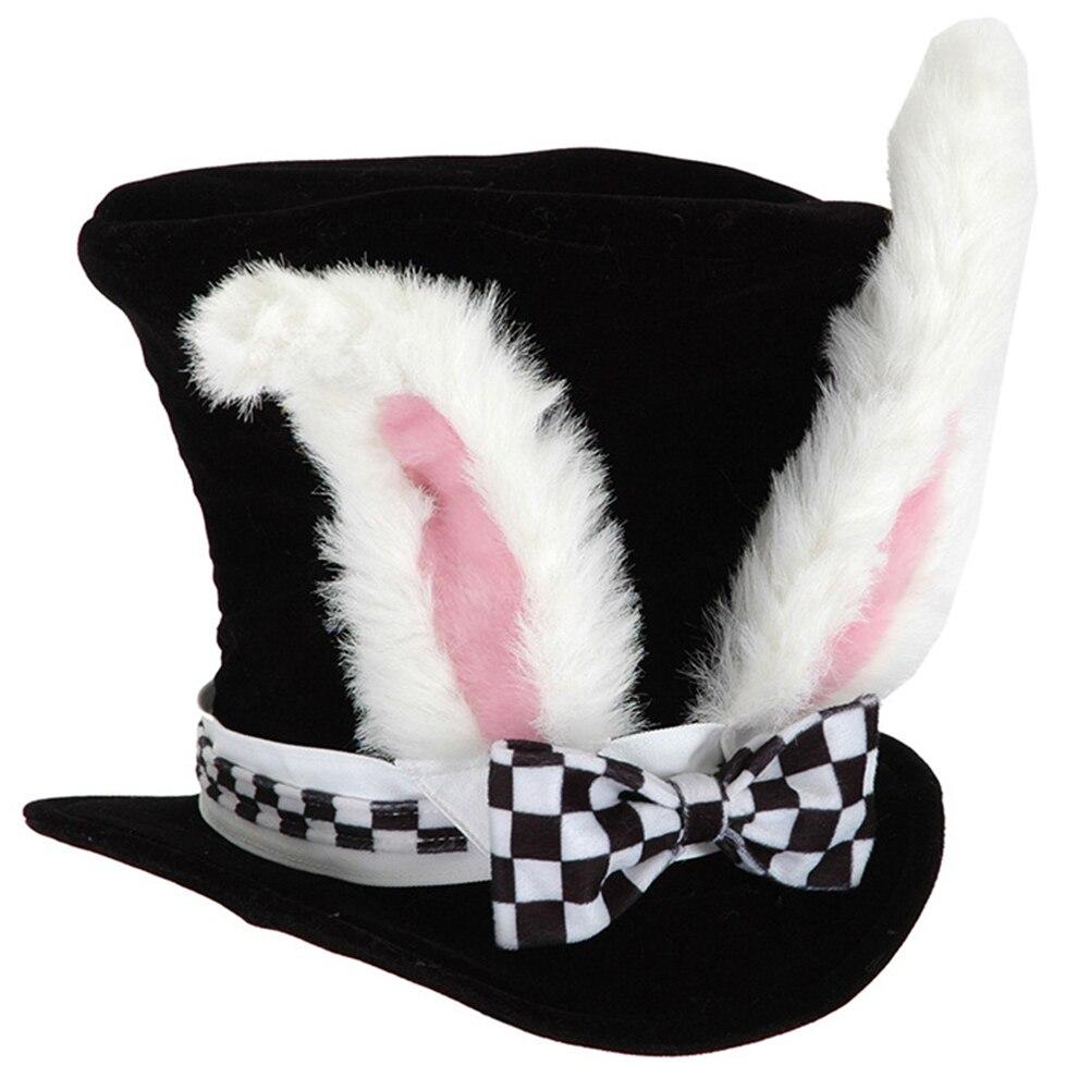Divertido Cosplay fiesta Orejas de conejo sombrero con peluche a cuadros Pascua adorno Bowknot lindo traje de regalo Conjuntos de vestido de Pascua para niñas, vestido de conejo a rayas, Cartera de conejito a juego, medias y accesorios