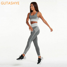 GUTA Seamless Yoga Set Women Fitness Clothing Sportswear Woman Gym Leggings Padded Push-up Strappy Sports Bra 2 Pcs Sports Suits