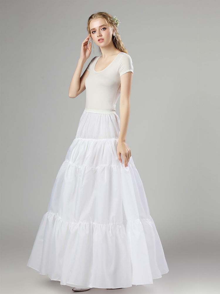 Petticoat Underskirt Tutu White Wedding Nylon Cosplay Halloween Organza Slip-12006 In-Stock