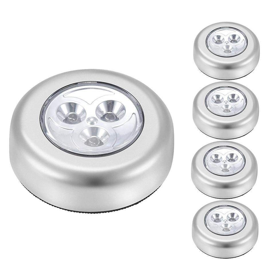 터치 캐비닛 조명 아래 LED 3 Led LED 퍽 조명 옷장 찬장 쇼케이스 서랍 옷장 램프 배터리 작동 야간 조명-에서캐비닛 라이트부터 등 & 조명 의
