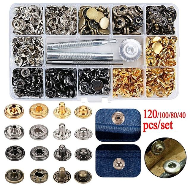 120/100/80/40 шт. 12,5 мм металлический Пресс шпильки пришивания пуговиц застежки-кнопки для шитья кожи ремесла одежда сумки аксессуары 4 Цвета
