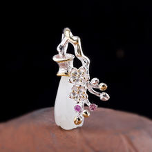 Character silver S925 pure silver fashion women's design Magnolia and Tian jade pendants(China)