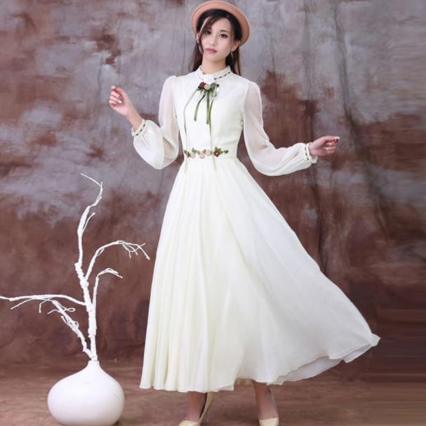 Бесплатная доставка Элегантный богемный стиль, Цветочный Вышивка с длинным рукавом женское шифоновое длинное платье DA531