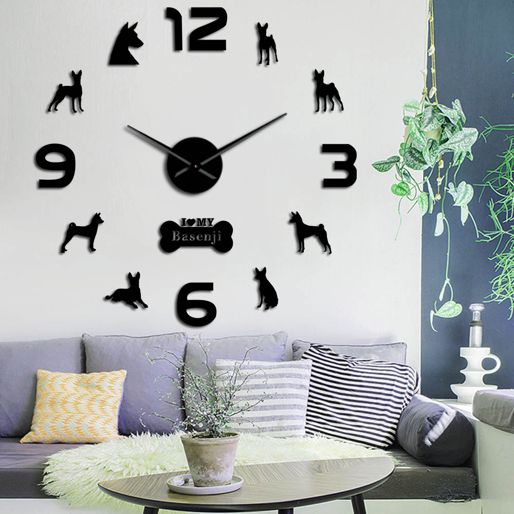 Basenji chien de brousse africaine grand bricolage horloge murale chien sans barre Ango Angari Congo Zande chiot animaux Stickers muraux montre salon