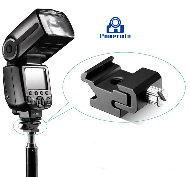 Powerwin 1/4 vis Metall hotsabot froid adaptateur caméra Speedlite Flash support support Studio lumière support trépied monopode tête