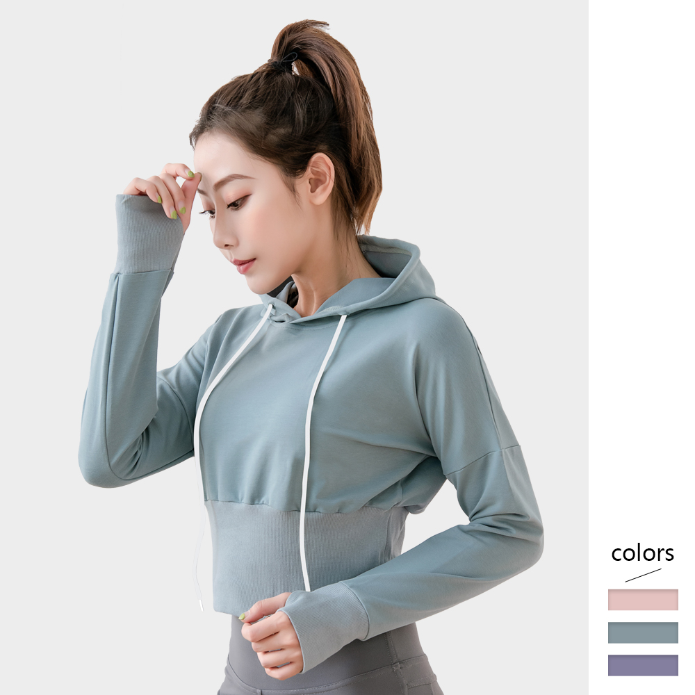 Women Hoodies Crop Top Sports Long Sleeve Solid Color Tops Casual Female Autumn Winter Pullover Sweatshirts