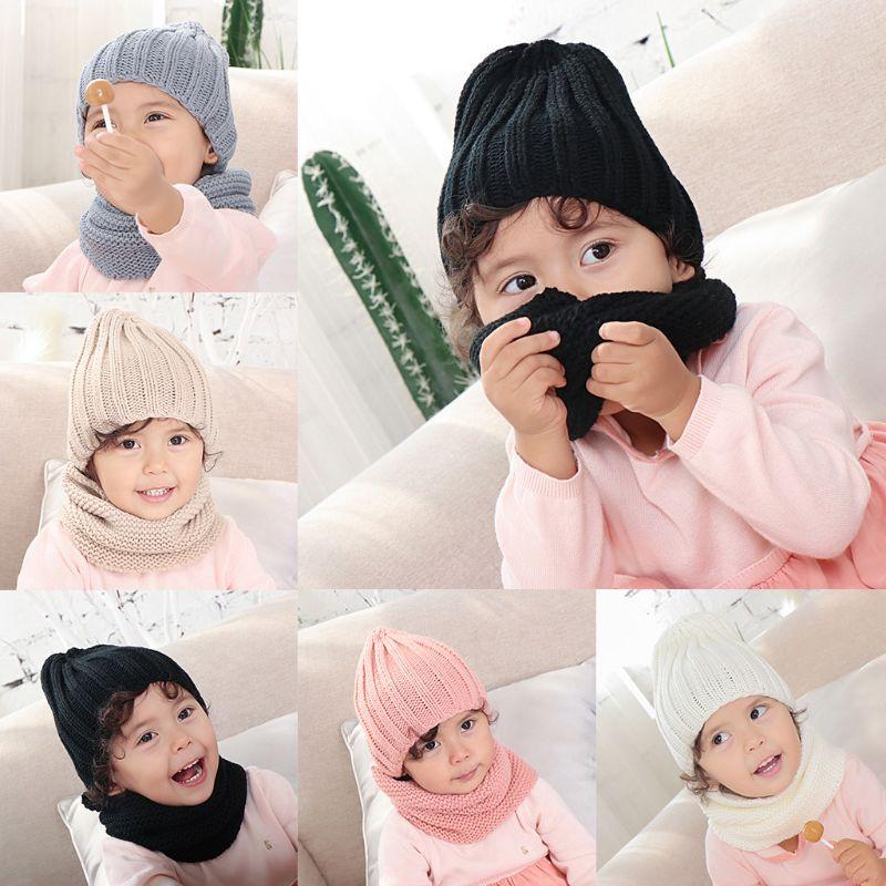 THINKTHENDO Infant Baby Crochet Knitted Hat Infinite Scarf Set Soft Neck Warmer Cap 0-3 Year