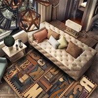 빈티지 카펫 3D 인쇄 모조 나무 디자인 ABC 편지 크리스탈 양 털 카펫 거실 갈색 매트 양탄자 옆에 발코니에 대 한