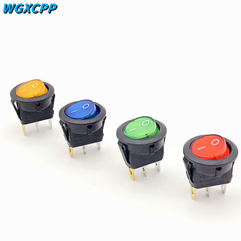 1/4pcs,KCD1 Round Shape Rocker Switch,2 Position,ON-OFF,3 Pin,Electrical Equipment With Lighting Power,6A 250VAC/10A 125VAC,20mm