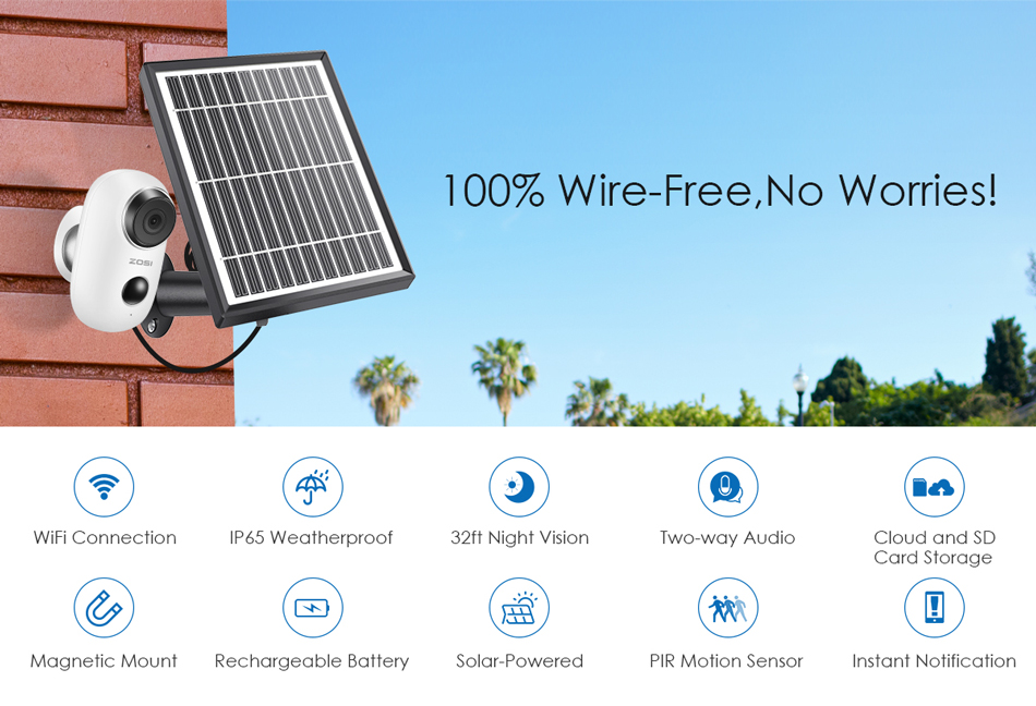 Hda5f4d5f6b67463e81aeea2d08af4552M ZOSI Rechargeable Battery Powered IP Camera Solar Power Charging 720P/1080P HD Outdoor Wireless Security WiFi Camera