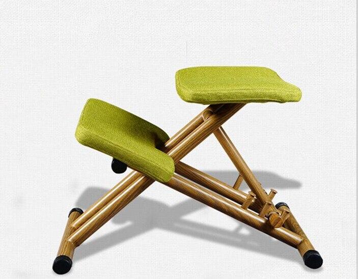 Ergonomically Designed Kneeling Chair Green Fabric Cushion Modern Office Computer Chair Ergonomic Posture Knee Chair Design
