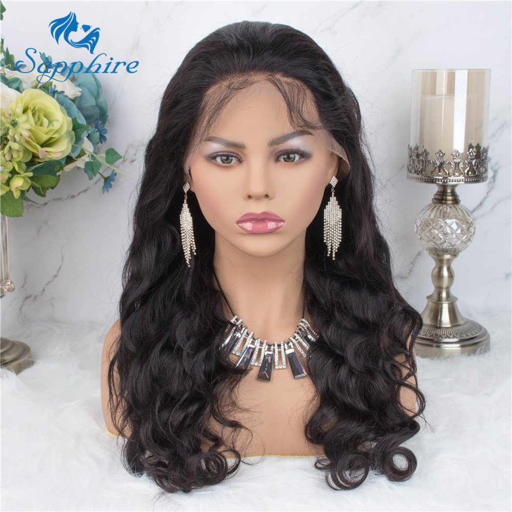 Sapphire 13*4 Lace Frontal Wig Pre Plucked Baby Hair Brazilian Body Wave NON Remy Hair Lace Frontal Human Hair Wigs For Black