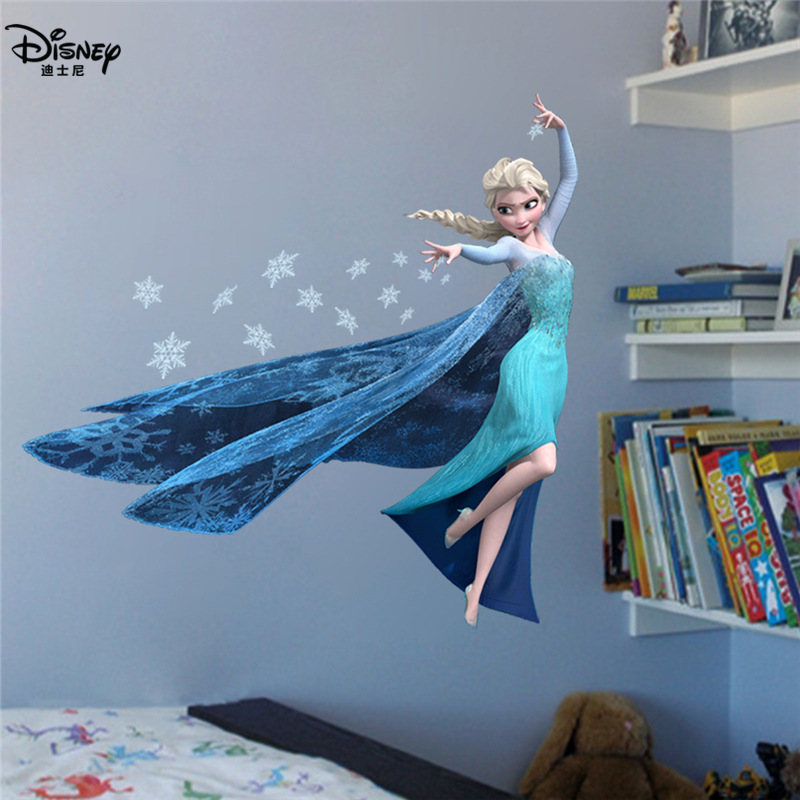 Disney Elsa Anna Princess Wall Stickers For Girls Room Home Decoration Diy Cartoon Frozen Movie Mural Art Anime Posters Kids Toy