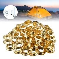 100pcs\/set Durable Tarpaulin Tent Awning Groundsheet Eyelet DIY 1\/2'' Tarp Inner Dia 12mm Brass Coated Eyelet Grommets Repair Ki