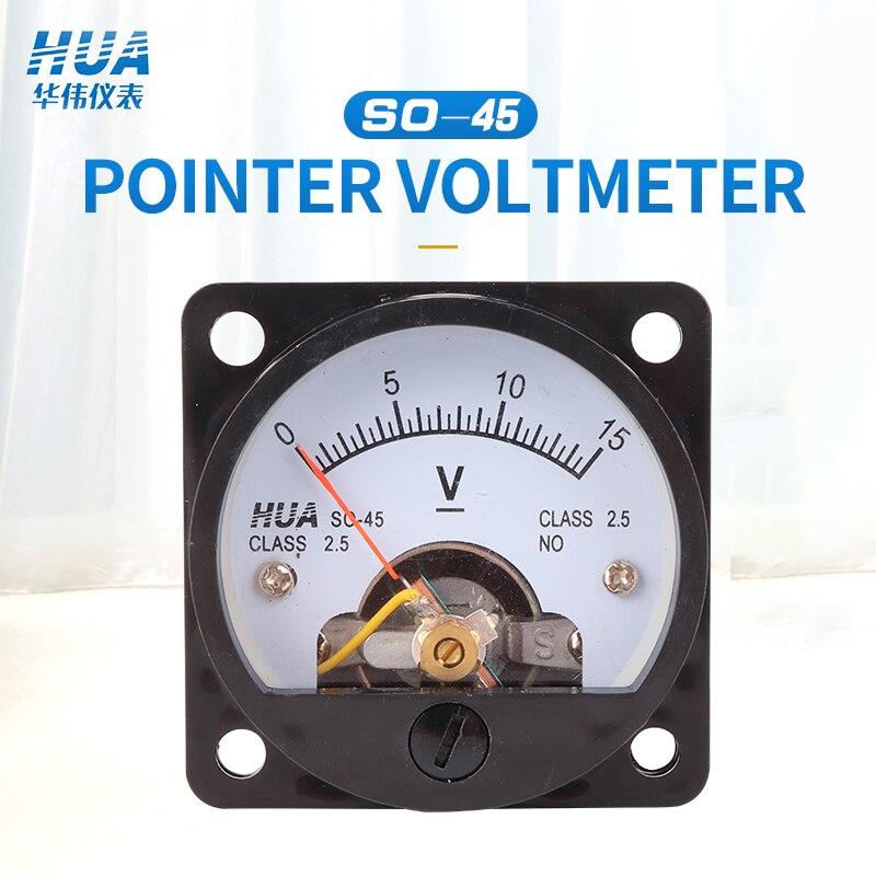 SO-45 DC Anlog Voltmeter 1V2V3V5V10V15V20V30V40V50V100V150V200V250V300V400V450V500V Voltage Panel Meter