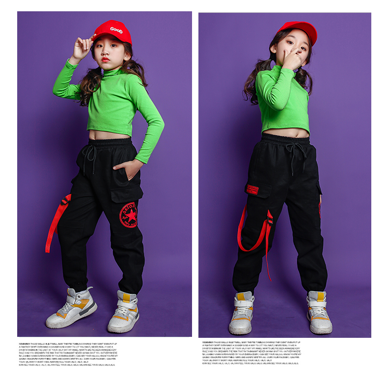 Fashion Children Jazz Dance Costume For Girls Hip Hop Street Dancing Costumes Crop Top Pants Kids Performance Dance Clothes (9)