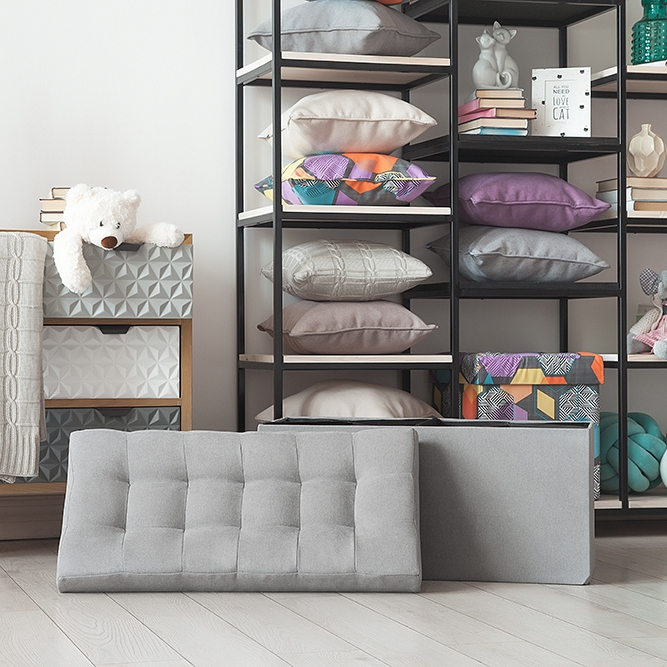 Delhi-obuvnitsa Delicatex Gray Home Soft Comfort Folding Multi-function Storage Box with Lid Organizer Comfortable Ottoman for Children Footrest Fabric Small Chair Living Room Hallway Furniture Tabouret free shipping pu foot square stool with storage space living room ottoman children stool kids storage box footrest