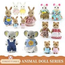 Koala Toy Forest Animal Family Miniature Dollhouse Figure Furniture Toy Rabbit Baby Dolls Set Pretend Play Kids Gifts Toys