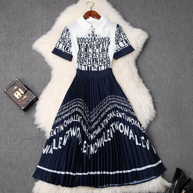 2019 verano Sweet Cool Street Wear Vestido Mujer nueva letra estampado de mosaico contraste POLO Color Lapel largo delgado vestido plisado