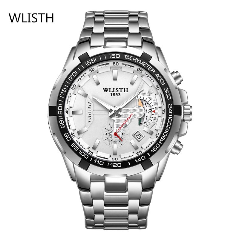 Men's Watch Steel Band Waterproof Quartz Watch Business Waterproof Watch Luminous Display WLISTH Brand Fashion Free Shipping 1