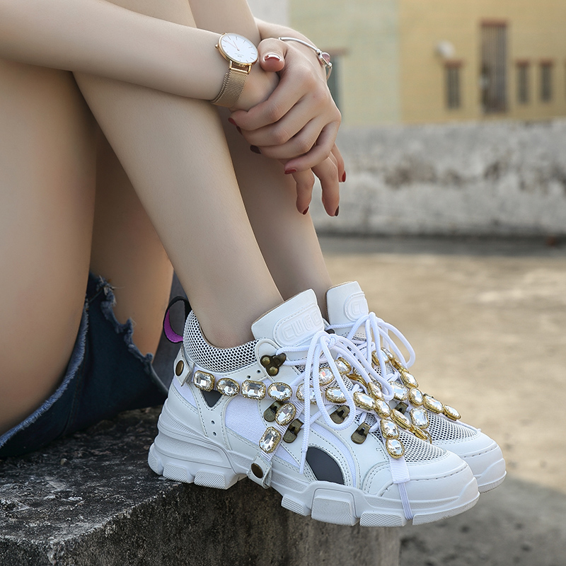 Rhinestone Shoes Women Platform Sneakers White Zapatos De Mujer Brand Crystals Ladies Chunky Footware Thick Bottom Dad Sneakers