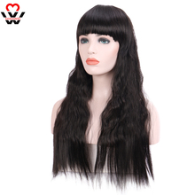 MANWEI Long Wavy Wigs Women's wig with Bangs Heat Resistant Synthetic for African  fashion cosplay hairs pink red