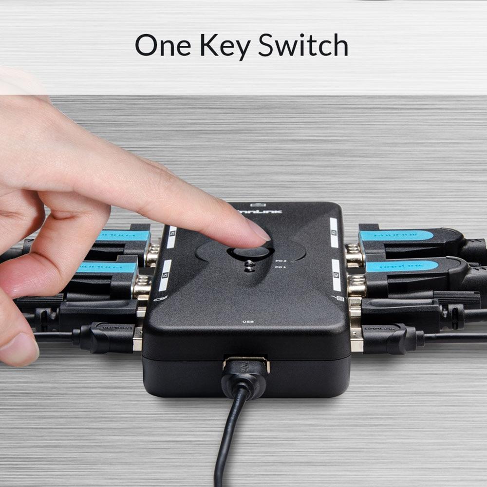 2/4X1 VGA KVM Switch Box Selector 2/4 Ports KVM USB 2.0 Sharing Print Monitor Mouse Keyboard For 4 Computer Laptops PCs
