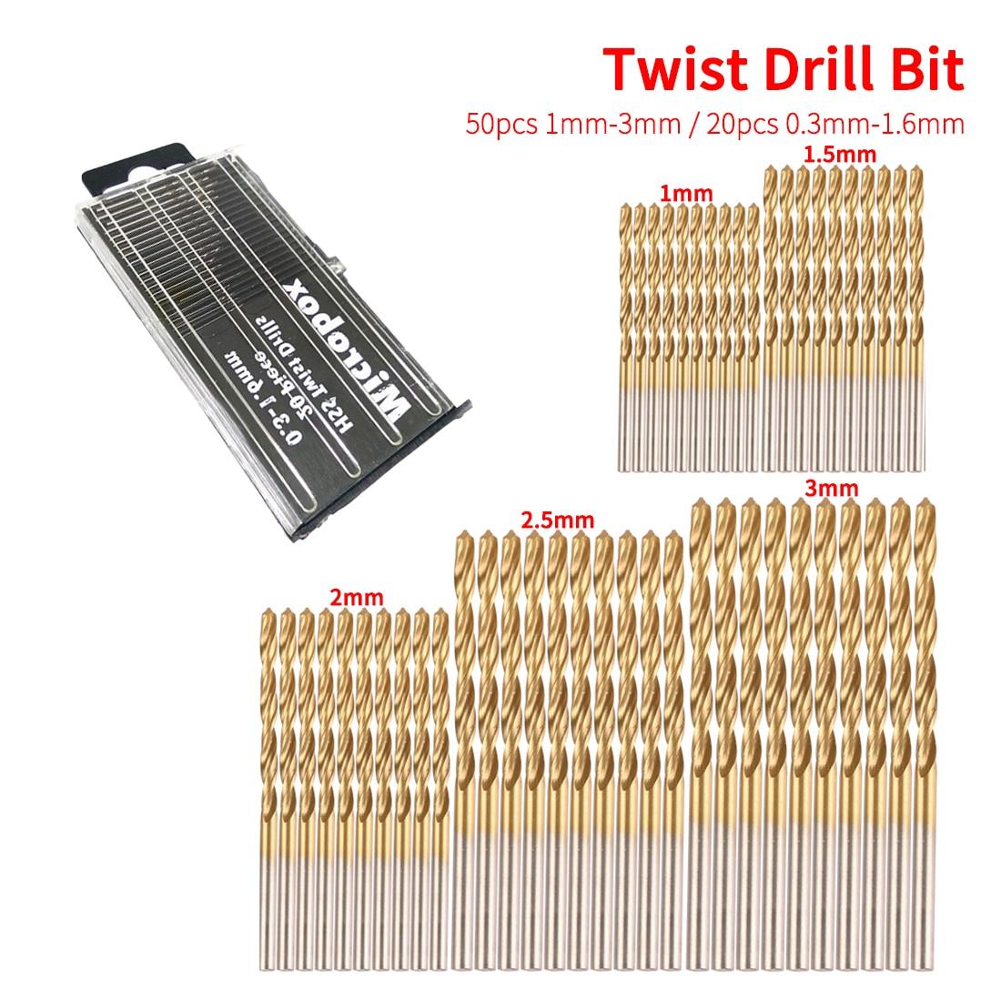 Titanium Coated 50pcs 1/1.5/2/2.5/3mm HSS Twist Drill Bit Set Tool Twist Drill Bit Woodworking Tools For Plastic Metal Wood