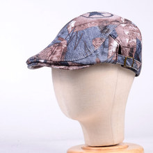 Mens Womens Unisex Real Leather Denim Pattern Military Peaked cap Army Beret Newsboy Hats/caps