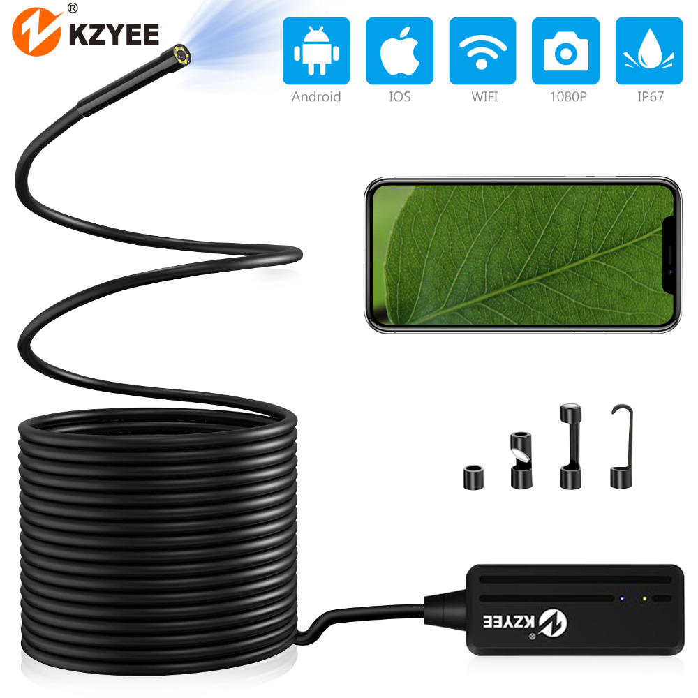 KZYEE <font><b>10m</b></font> Wireless <font><b>Endoscope</b></font> <font><b>1200P</b></font> HD WiFi Borescope Inspection Camera 2.0 Megapixels Snake Camera for Android /iOS Smartphone image