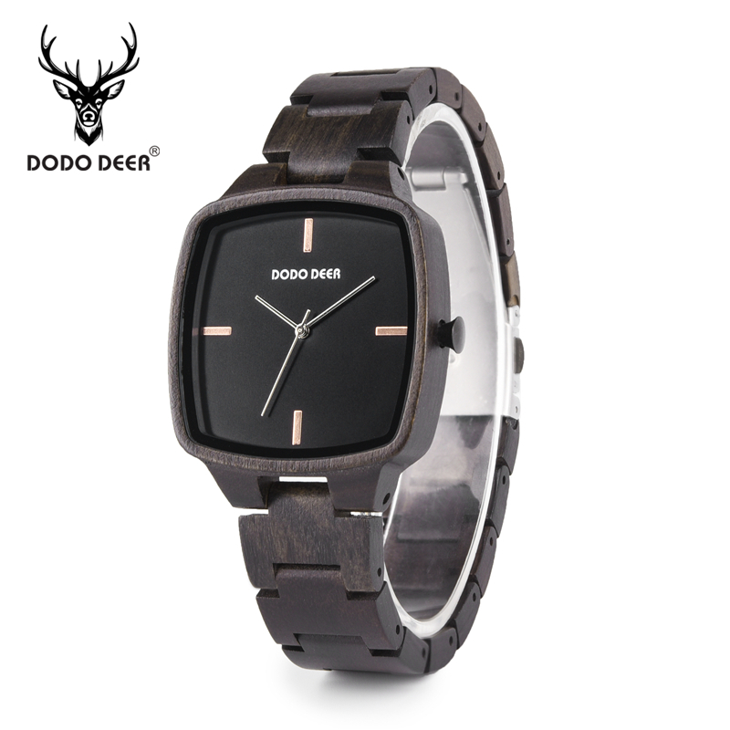 Men Watch Wooden-Box Timepieces Japan Movement Dodo Deer Quartz Relogio in Ebony Masculino title=