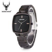relogio masculino DODO DEER Men Watch Wood Ebony Watches Timepieces Japan Movement Quartz Wristwatch in wooden box Mens Gift OEM