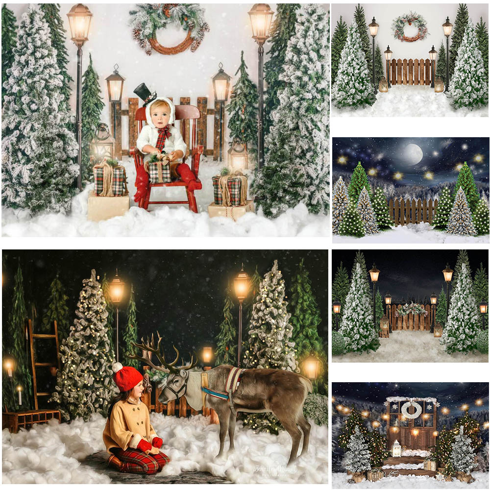 Mocsicka Рождество Зима Снег ночь фоны для фотографии забор для рождественской елки Декор Фотостудия Фото фоны