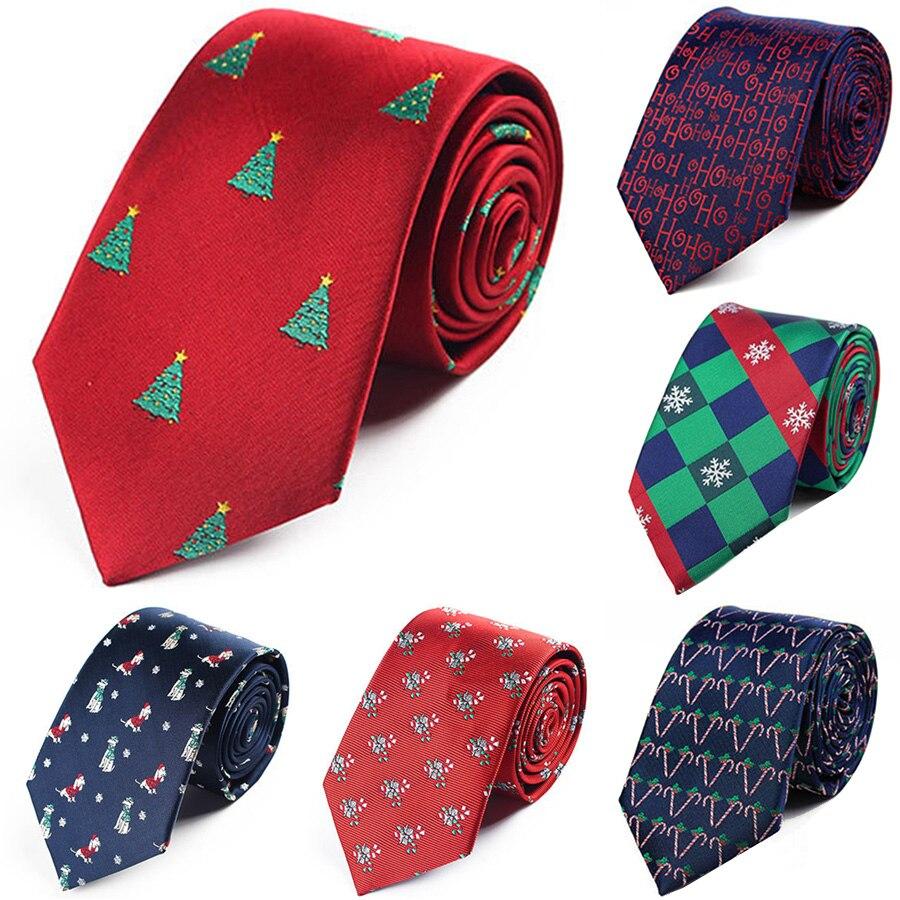 Fashion 7.5cm Men's Christmas Tie Snowflake Santa Claus Tree Polyester Necktie Green Red Striped  Jacquard Festival Neck Ties