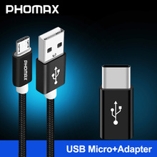 PHOMAX Micro USB Cable Nylon Braided Data Sync Charger For Samsung S9 S8 HTC LG huawei xiaomi mi8 Android Phone Cables