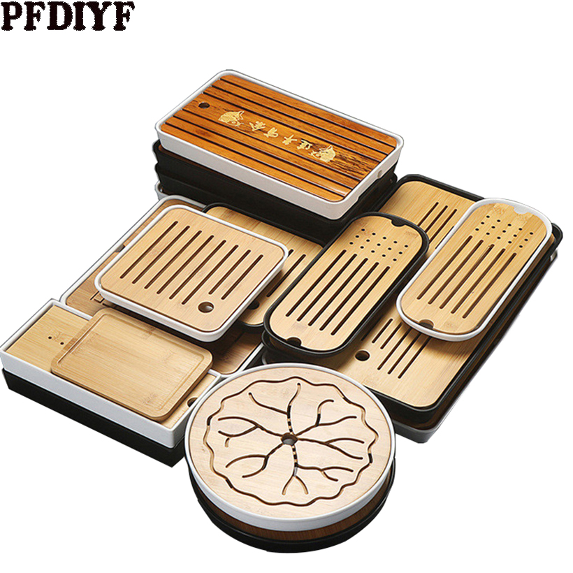 Multiple Chinese Bamboo Tea Trays Kung Fu Tea Tray Table With Drain Rack Tea Serving Tray Set  Kitchen Tea Ceremony Accessories