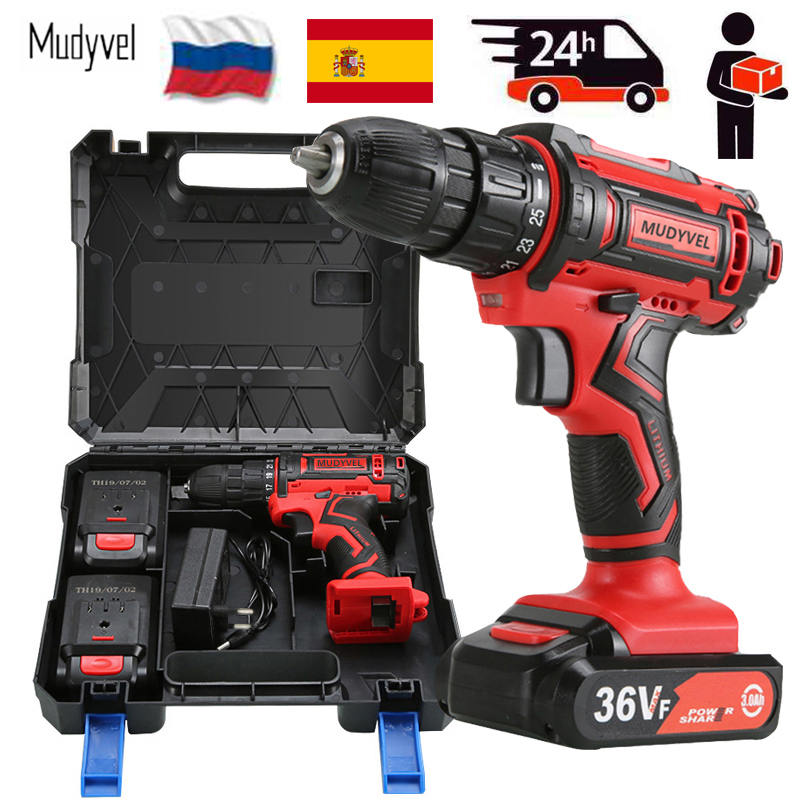 Electric Mini Drill 12V 16.8V 36V Rechargeable Battery Power Tools 3/8-Inch 2 speed Home Essentials Cordless Screwdriver